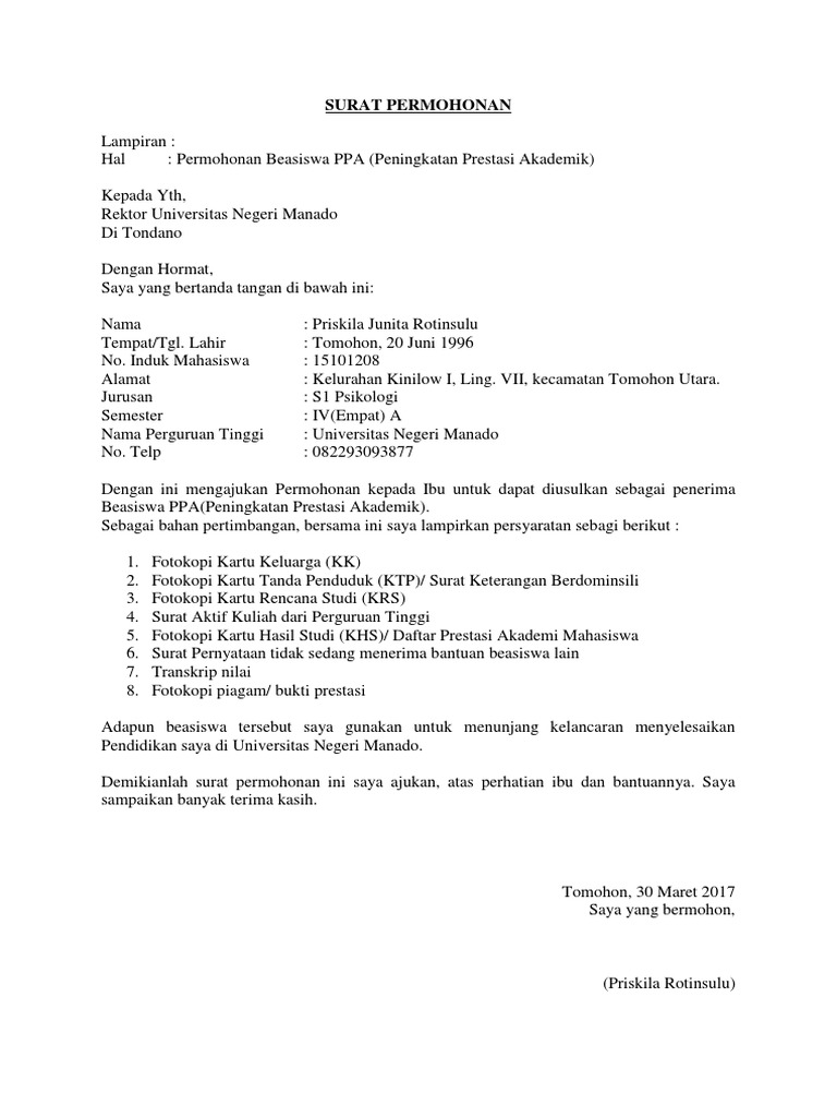 Cara Memuat Surat Contoh Surat Permohonan Beasiswa Ppa Kepada Rektor