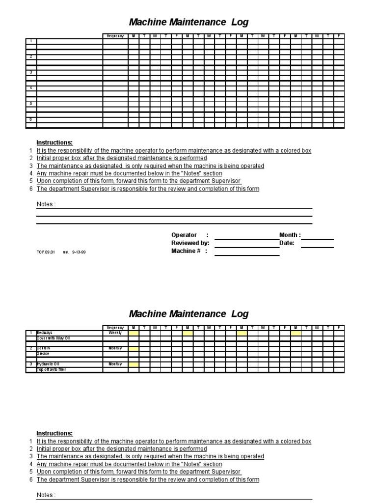 Machine maintenance log sample lubricant metalworking altavistaventures Image collections