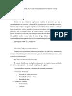 Processos e Graus de Tratamento Dos Esgotos Sanitários