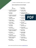 Lista de 50 Adjetivos Comparativos en Ingles