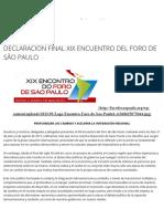 Foro de São Paulo Declaración Final Xix Encuentro Del Foro de São Paulo