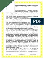 Ley Orgánica de Las Instituciones Públicas de Los Pueblos Indígenas Del Ecuador Que Se Autodefinen Como Nacionalidades de Raíces Ancestrales