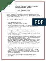 pre-observation form social studies lesson