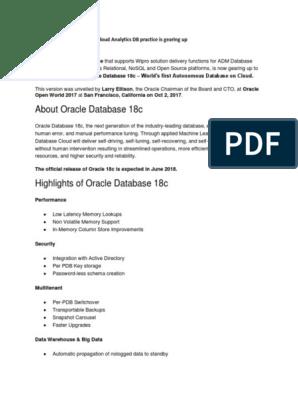 Oracle 18c Autonomous DB Cloud Analytics DB Practice is