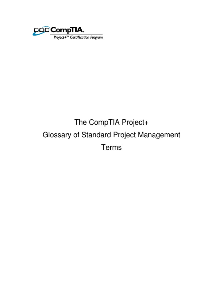 Project Plus Glossary Comp Tia Project Management