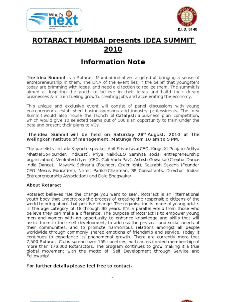 Rotaract Idea Summit Note | Iniciativa empresarial | Economies