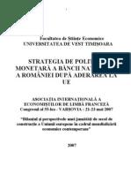 Politica Monetara a Romaniei Dupa Aderarea La UE