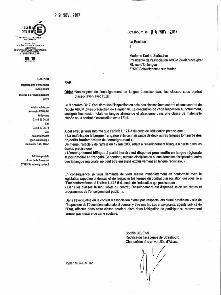 Lettre Du Rectorat De Lacadmie Strasbourg