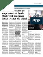 Directivos de empresas exsocias de Odebrecht podrían ir hasta 15 años a la cárcel