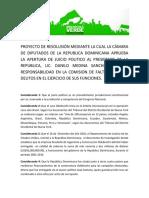Propuesta de Resolución #JuicioPolitico Danilo Medina