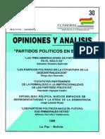 30 PARTIDOS POLITICOS en BOLIVIA Las Tres Generaciones de Partidos en El Siglo XX