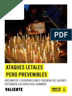 Ataques Letales Pero Prevenibles_ Asesinatos y Desapariciones de Quienes Defienden Los Derechos Humanos