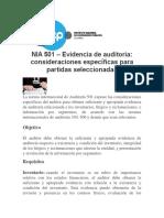 NIA 501_ Evidencia de auditoria_ consideraciones específicas para partidas seleccionadas.docx