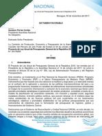 Dictamen y Texto de Ley Anual de Presupuesto General de La República 2018