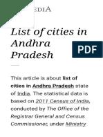 List of Cities in Andhra Pradesh