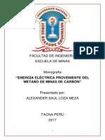 ''Energía Eléctrica Proveniente Del Metano de Minas de Carbón''Alexander Loza Meza 2016-101003