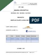 Memoria Descriptiva de Diseño Mecanico de Planta Lucma