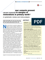 Do glass Ionomer cements prevent caries on the margins of restaurations in primary teeth