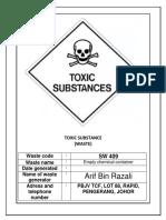 Scheduled Waste Label