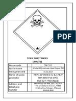 Scheduled Waste Labelling Sticker