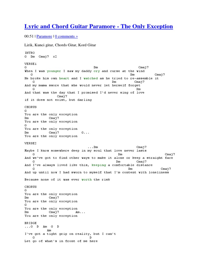 Lyric And Chord Guitar Paramore Recorded Music Leisure