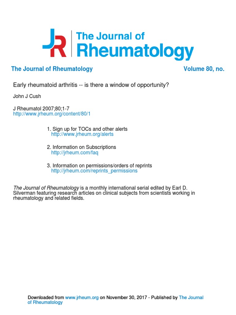 Early rheumatoid arthritis -- is there a window of opportunity
