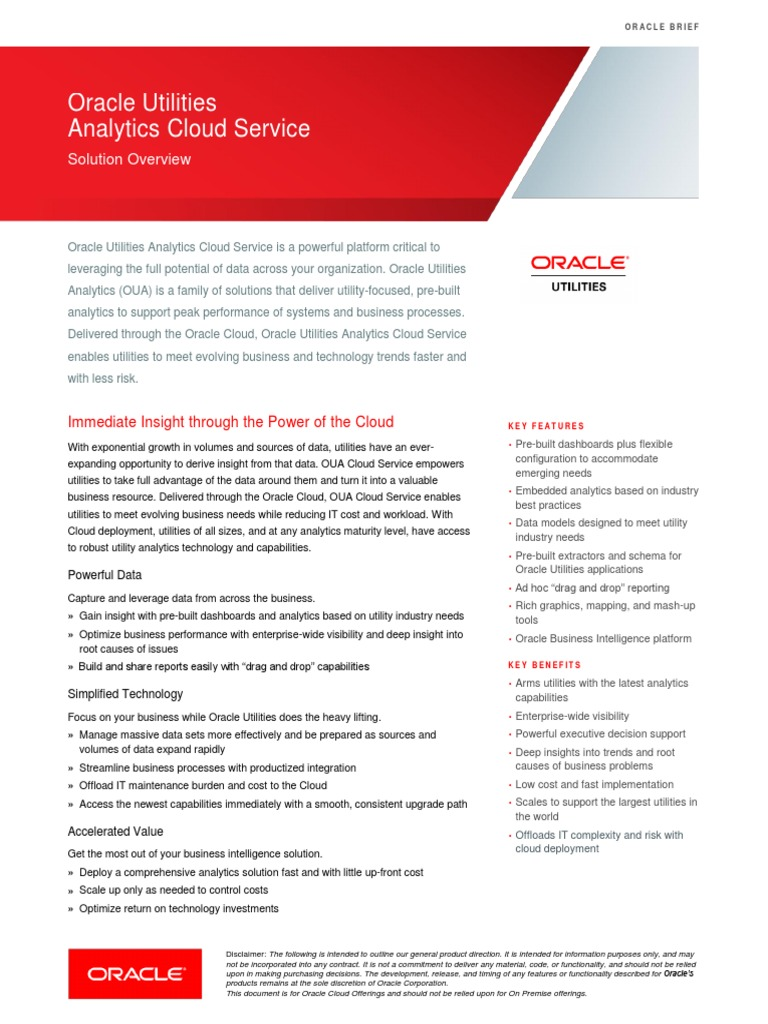 Oracle Utilities Analytics Cloud Service: Solution Overview