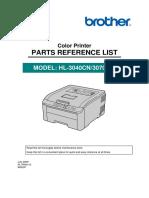 Hl-3040cn, Hl-3070cw Parts List