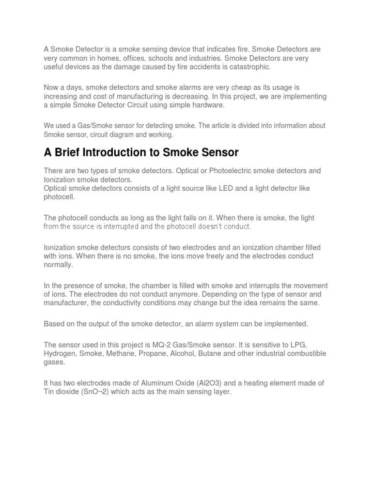 A Smoke Detector Is Sensing Device That Indicates Fire Photoelectric Circuit Sensor