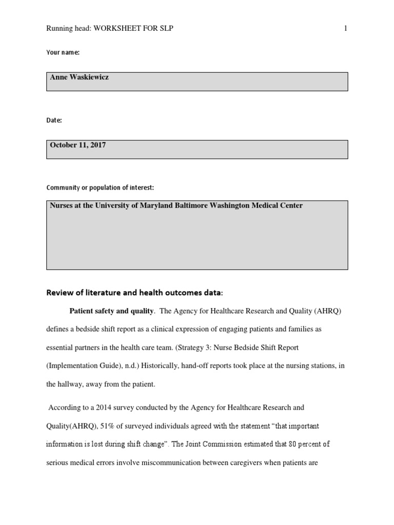 Completed Worksheet For Service Learning Project Patient
