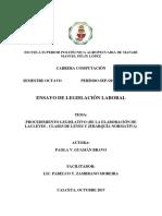Ensayo PROCEDIMIENTO LEGISLATIVO EN ECUADOR