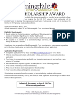 Bloomingdale Civic Association Scholarship Flyer 2017