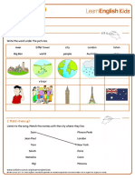 Songs One Small World Worksheet