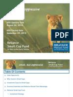 Reliance Small Cap Fund Presentation