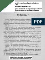 AVELLANEDA en las Relaciones Topográficas de los Pueblos de España,  hechas por orden de Felipe II en 1574