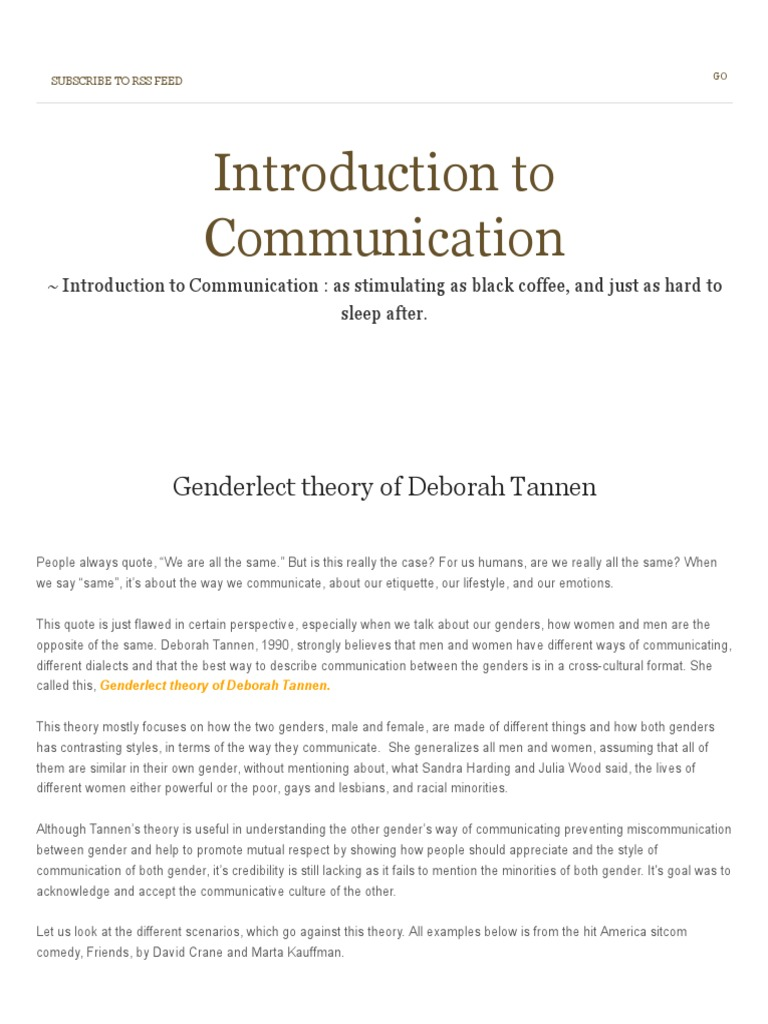 tannen gender communication
