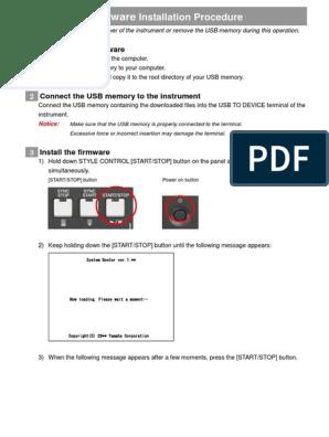 PSR-S670 Firmware Installation En | Usb | Installation