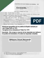 TORREJONCILLO en las Relaciones Topográficas de los Pueblos de España,  hechas por orden de Felipe II en 1574