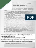 VILLAR DEL PEDROSO en las Relaciones Topográficas de  los Pueblos de España,  hechas por orden de Felipe II en 1574