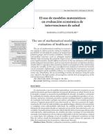 El Uso de Modelos Matemáticos en Evaluación Económica de Intervenciones de Salud