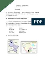 Memoria Descriptiva Campos Deportivos de Torrechayoc