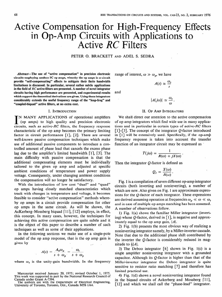 Active Compensation For High Frequency Effects In Op Amp Circuits Ampcircuits With Applications Rc Filters Catherine Vera Operational Amplifier