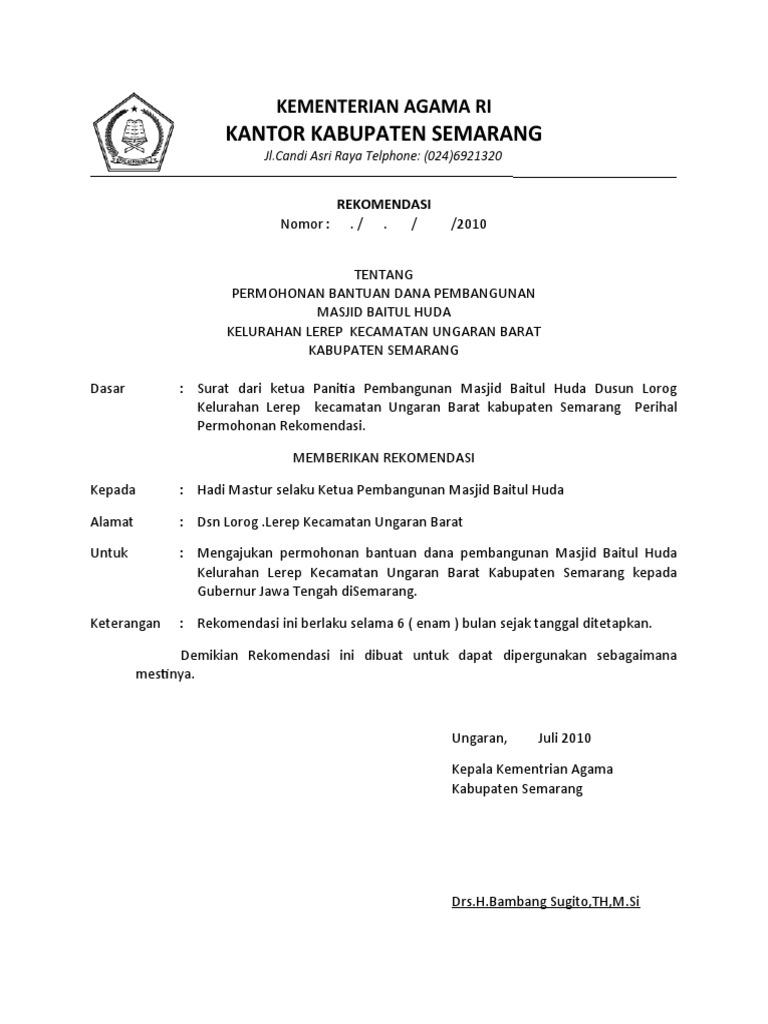 30431579 Surat Rekomendasi Kementerian Agama Contoh