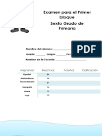 Examen 6to Grado PRIMARIA 2017-2018