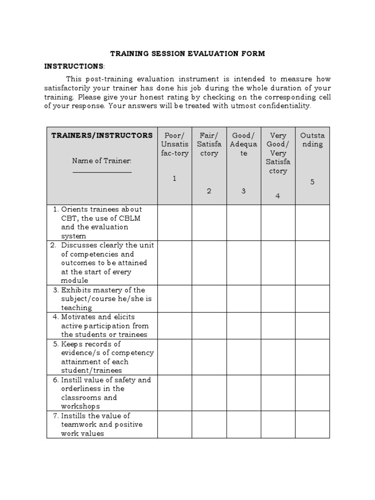 Sample Training Session Evaluation Form | Competence (Human ...