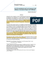 Issues and Problems in Decentralization and Local Autonomy in the Philippines