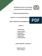 Radiología Grupo3 Anomalías Del Desarrollo de Cara