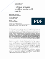 Bimodal bilingual language development in a hearing child of deaf parents
