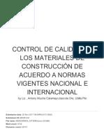 Control de Calidad de Los Materiales de Construcción de Acuerdo a Normas Vigentes Nacional e Internacional