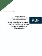 Bookchin y Janet Biehl Politicas de La Ecologia Social Municipalismo Libertario